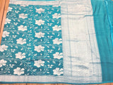 Sky Blue Tussar Georgette Saree - Indien Boutique