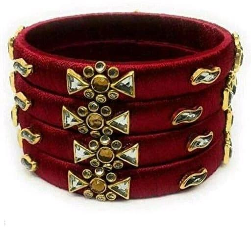 Silk Thread Bangles - Maroon - Indien Boutique