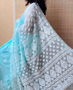 Chiffon Sarees with Lucknowi Chikankari work - Indien Boutique