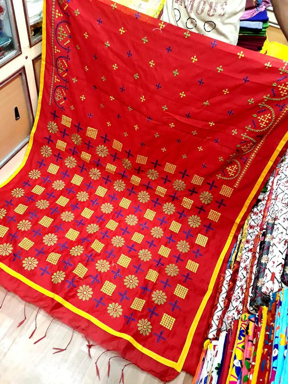 Cotton Silk Gujrati Stitch Saree - Indien Boutique
