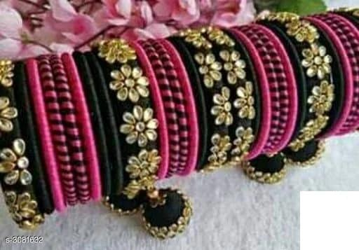 Silk Thread Bangles - Black & Pink - Indien Boutique