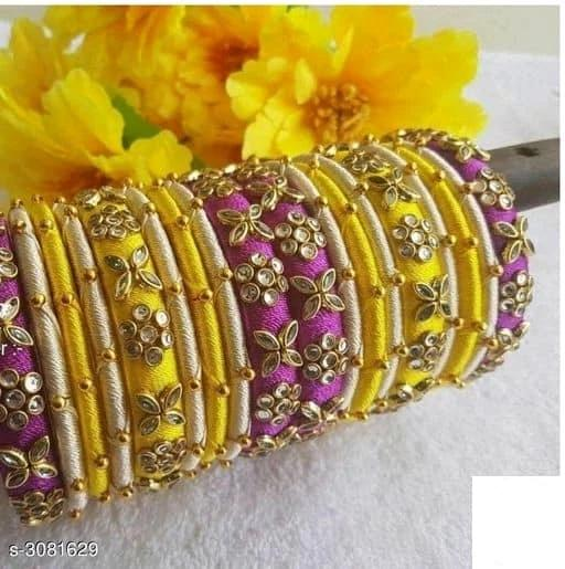 Silk Thread Bangles -  Yellow & Pink - Indien Boutique