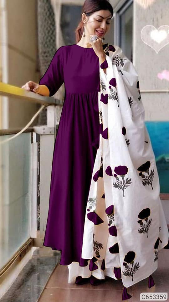 Purple Kurta Palazzo Set - Indien Boutique