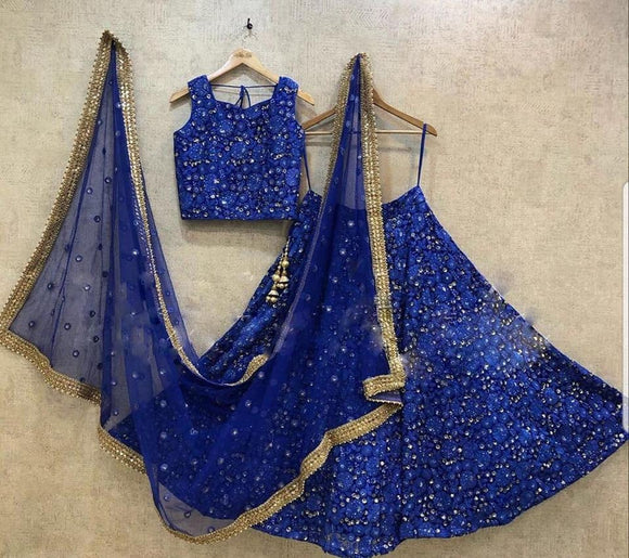 Midnight Blue Embroidered Designer Lehenga - Indien Boutique