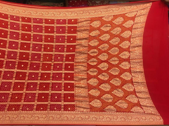 Red Bandhani Ghadchola Saree - Indien Boutique