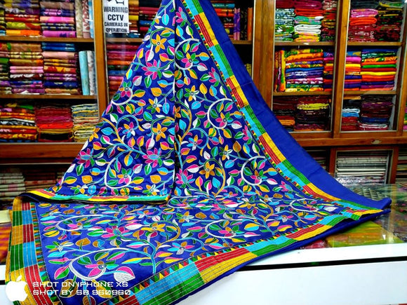 Tussar Silk Kantha Stitch Saree - Indien Boutique