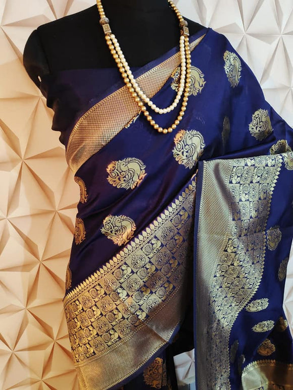 Banarasi Silk Saree with Zari work - Indien Boutique