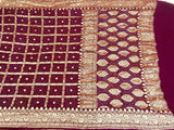 Wine Bandhani Ghadchola Saree - Indien Boutique