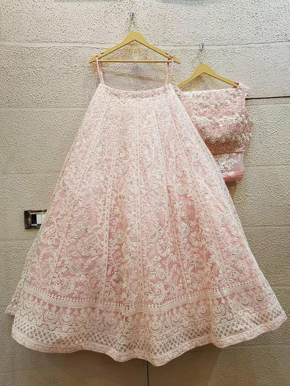 Pink Embroidered Designer Lehenga - Indien Boutique