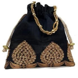 Raw Silk Crepe Potli Bags - Indien Boutique