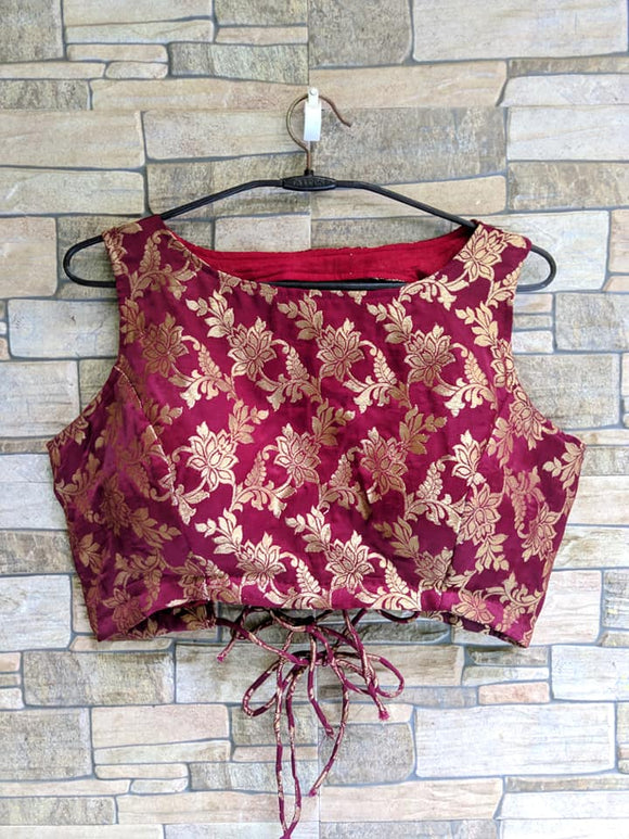 Maroon backless brocade Blouse - Indien Boutique