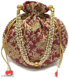 Embroidered Silk Potli Bags - Indien Boutique