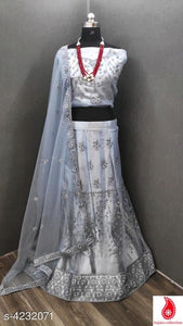 Satin Net Lehenga Choli - Indien Boutique
