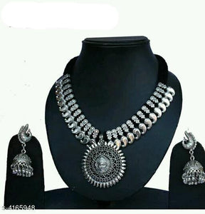 Temple Designed Oxidized Set - Indien Boutique