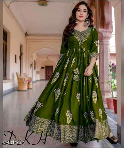 Green Printed Rayon Gown - Indien Boutique