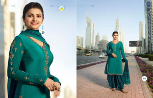 Green Georgette Satin Kurta Patiala - Indien Boutique