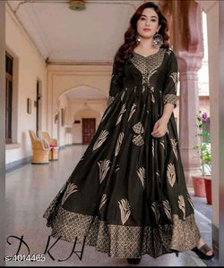 Black Printed Rayon Gown - Indien Boutique