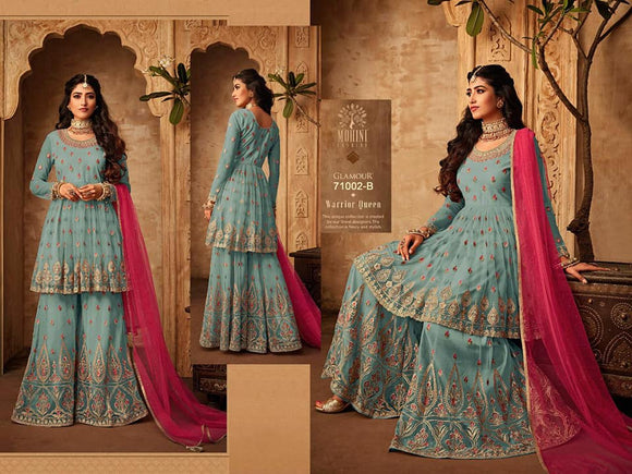 Embroidered designer Salwar Sharara - Indien Boutique
