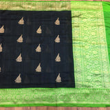 Black Tussar Silk Saree - Indien Boutique