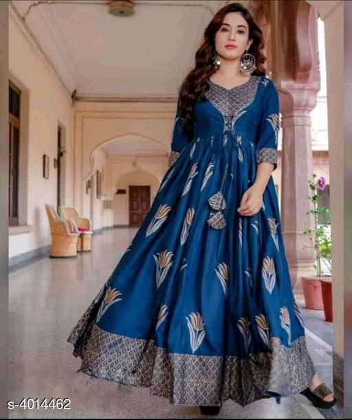 Blue Printed Rayon Gown - Indien Boutique