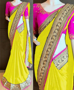 Chiffon Saree with lace border - Indien Boutique