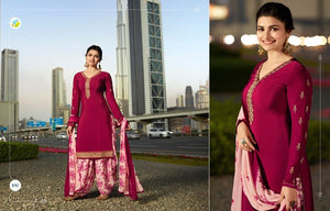 Pink Georgette Satin Kurta Patiala - Indien Boutique
