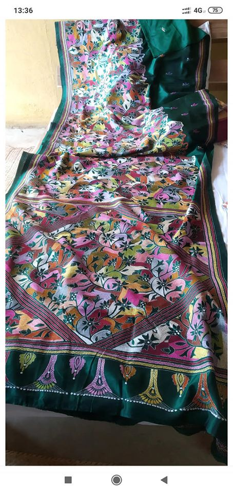 Bangalori Silk Kantha Stitch Saree - Indien Boutique