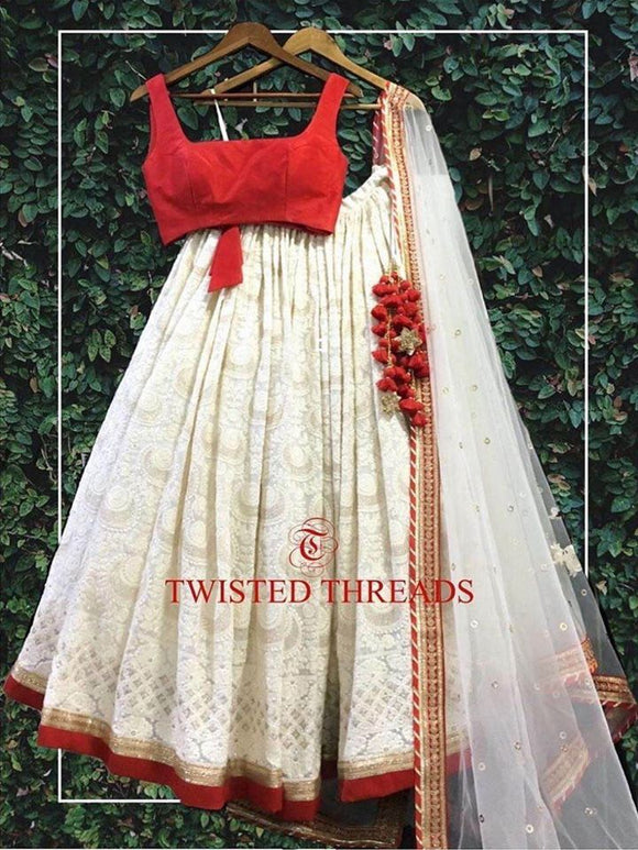 White & Red Georgette Lehenga - Indien Boutique