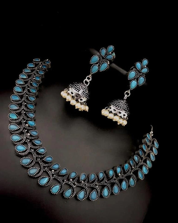Oxidized Sets with Colored Setting - Indien Boutique