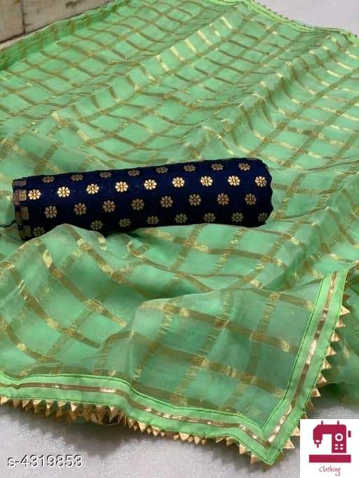 Pure Georgette Saree with Check pattern - Indien Boutique