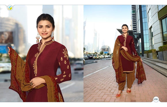 Maroon Georgette Satin Kurta Patiala - Indien Boutique