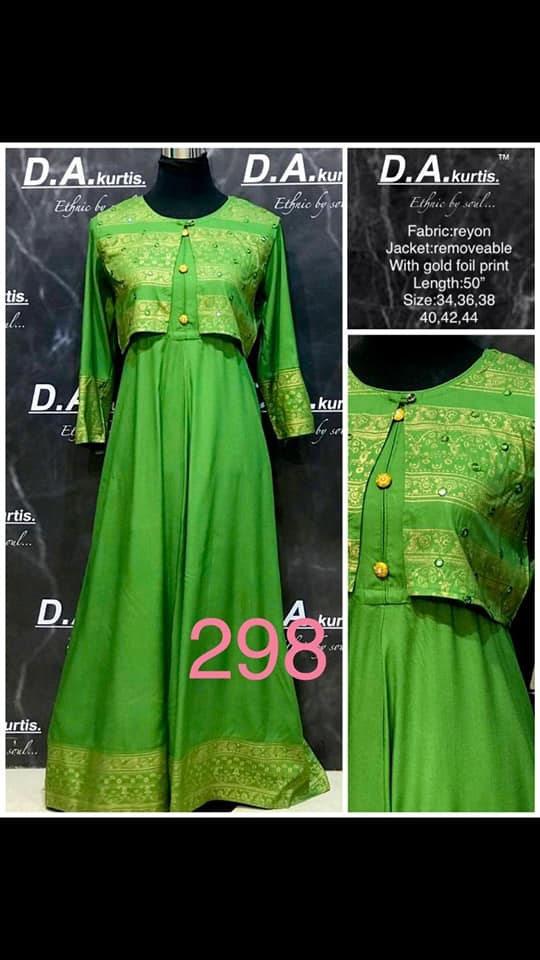 Green Rayon Gown with Jacket - Indien Boutique