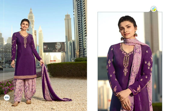 Violet Georgette Satin Kurta Patiala - Indien Boutique