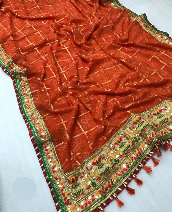 Bandhani Georgette Saree with Gota Patt - Indien Boutique