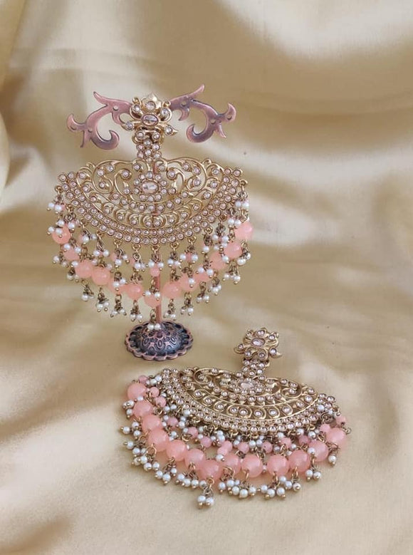 Pearl and Beaded Net Earrings - Indien Boutique