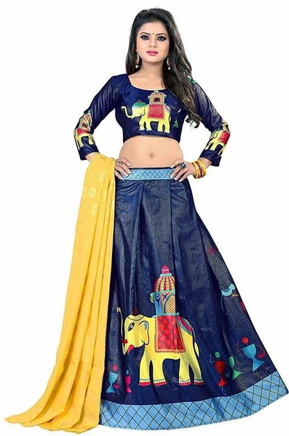 Digital Printed Silk Lehenga - Indien Boutique