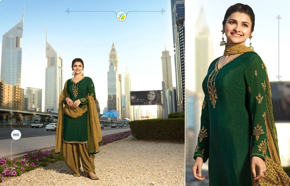 Dark Green Georgette Satin Kurta Patiala - Indien Boutique