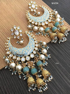 Pearl Kundan Earrings - Indien Boutique