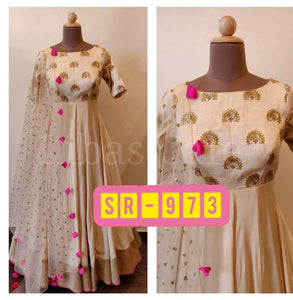 Beige Georgette & Silk Gown - Indien Boutique