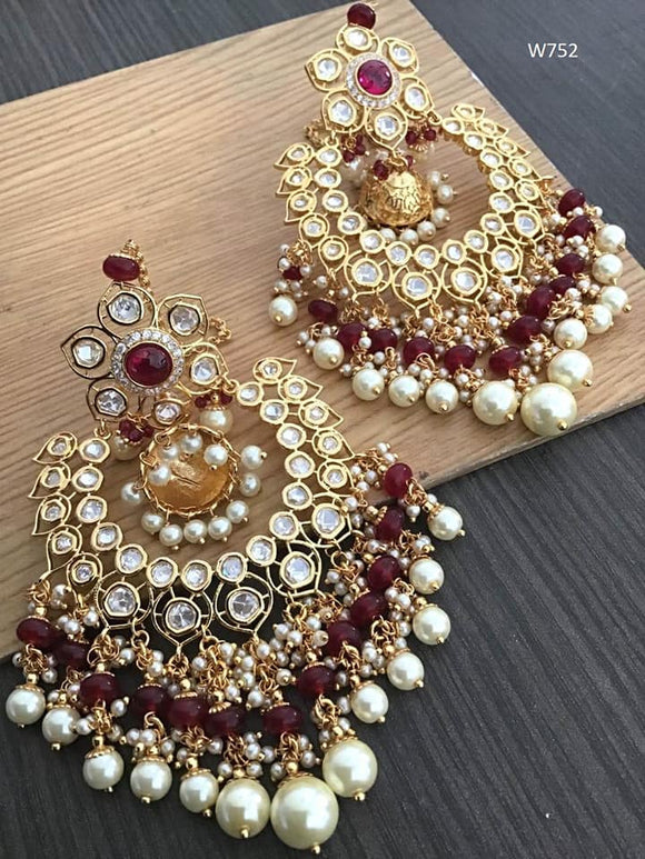 Maroon Pearl & Kundan Earrings - Indien Boutique