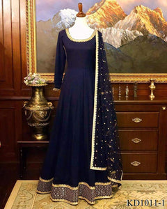 Royal Blue Silk Gown - Indien Boutique