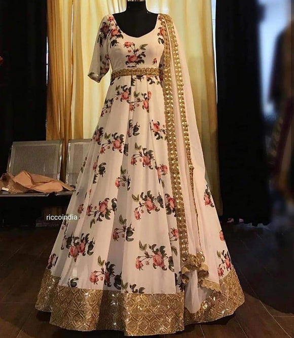 Digital Printed Silk Gown - Indien Boutique