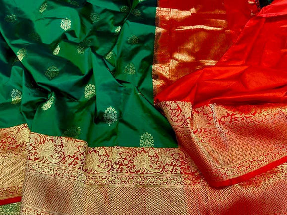 Green Pure Katan Silk Saree | Tradition Indian Clothing Online