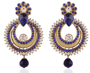 Blue Gold Plated Dangle & Drop Earrings - Indien Boutique