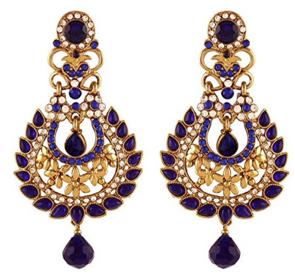 Blue Kundan & Stone Earrings - Indien Boutique