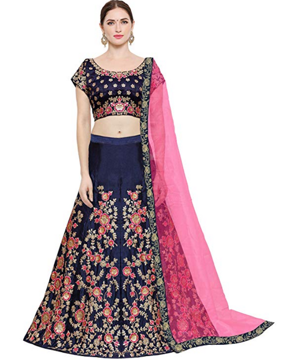 Navy Blue Taffeta Silk Lehenga - Indien Boutique