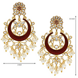 Handcrafted Kundan Pearl Chandbali Earrings - Indien Boutique