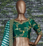 Green Embroidered Mulbury Silk Lehenga - Indien Boutique