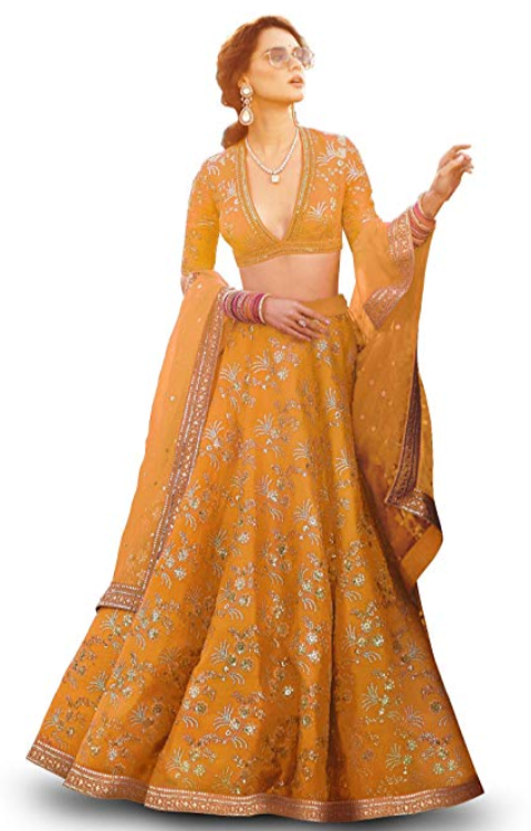 Mustard Yellow Embroidered Silk Lehenga - Indien Boutique