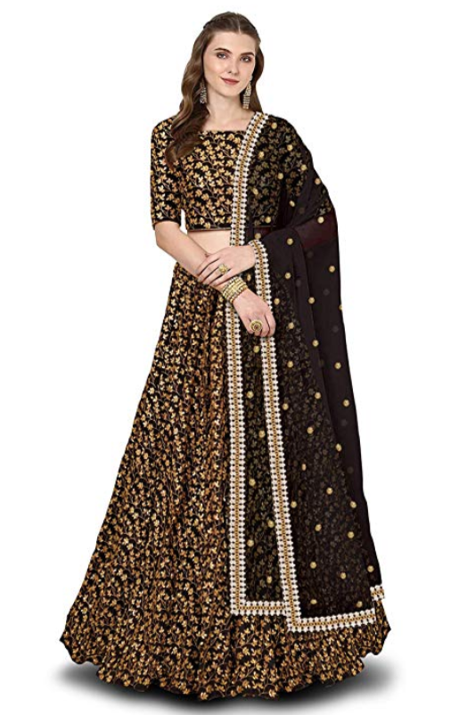 Black & Maroon Embroidered Silk Lehenga - Indien Boutique